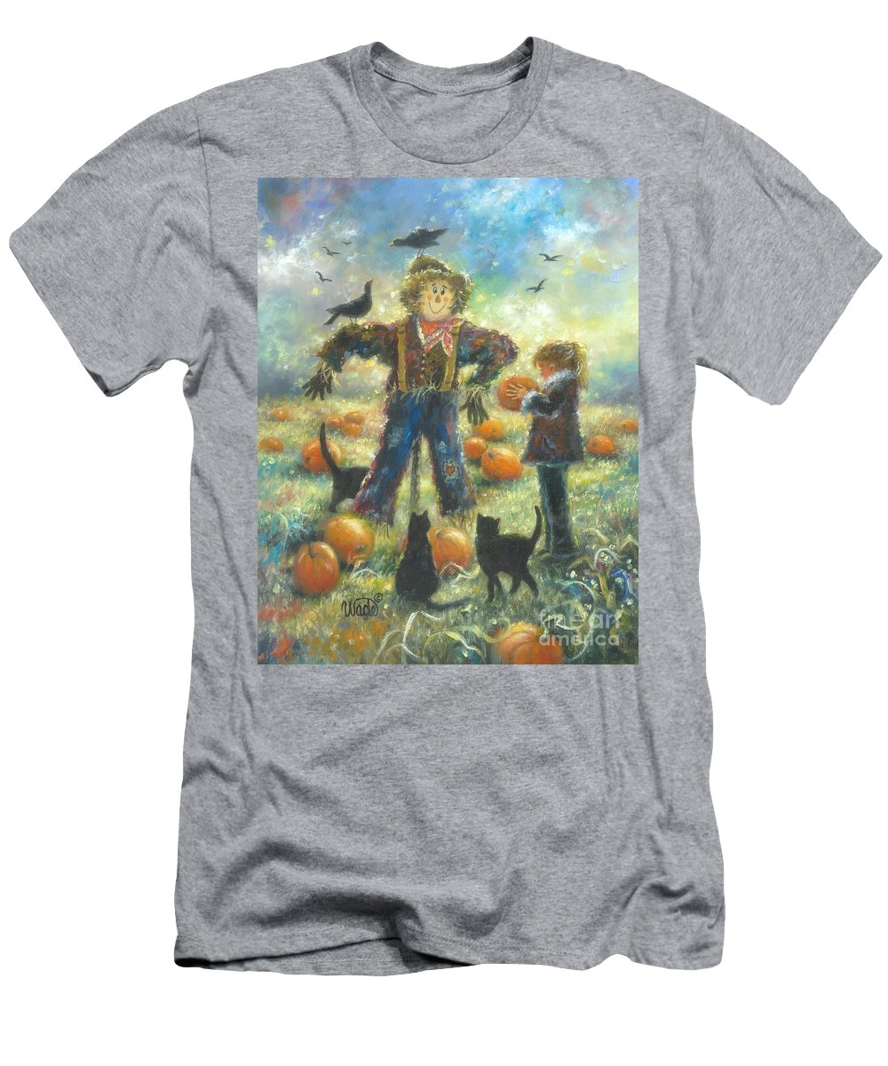 Girl Men's T-Shirt (Athletic Fit) featuring the painting Pumpkin Patch Girl by Vickie Wade