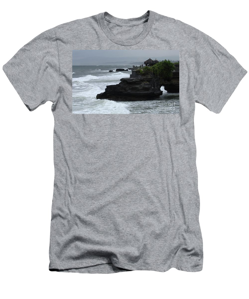 Pura Tana Lot Men's T-Shirt (Athletic Fit) featuring the photograph Pura Tanah Lot Bali Indonesia by Bob Christopher
