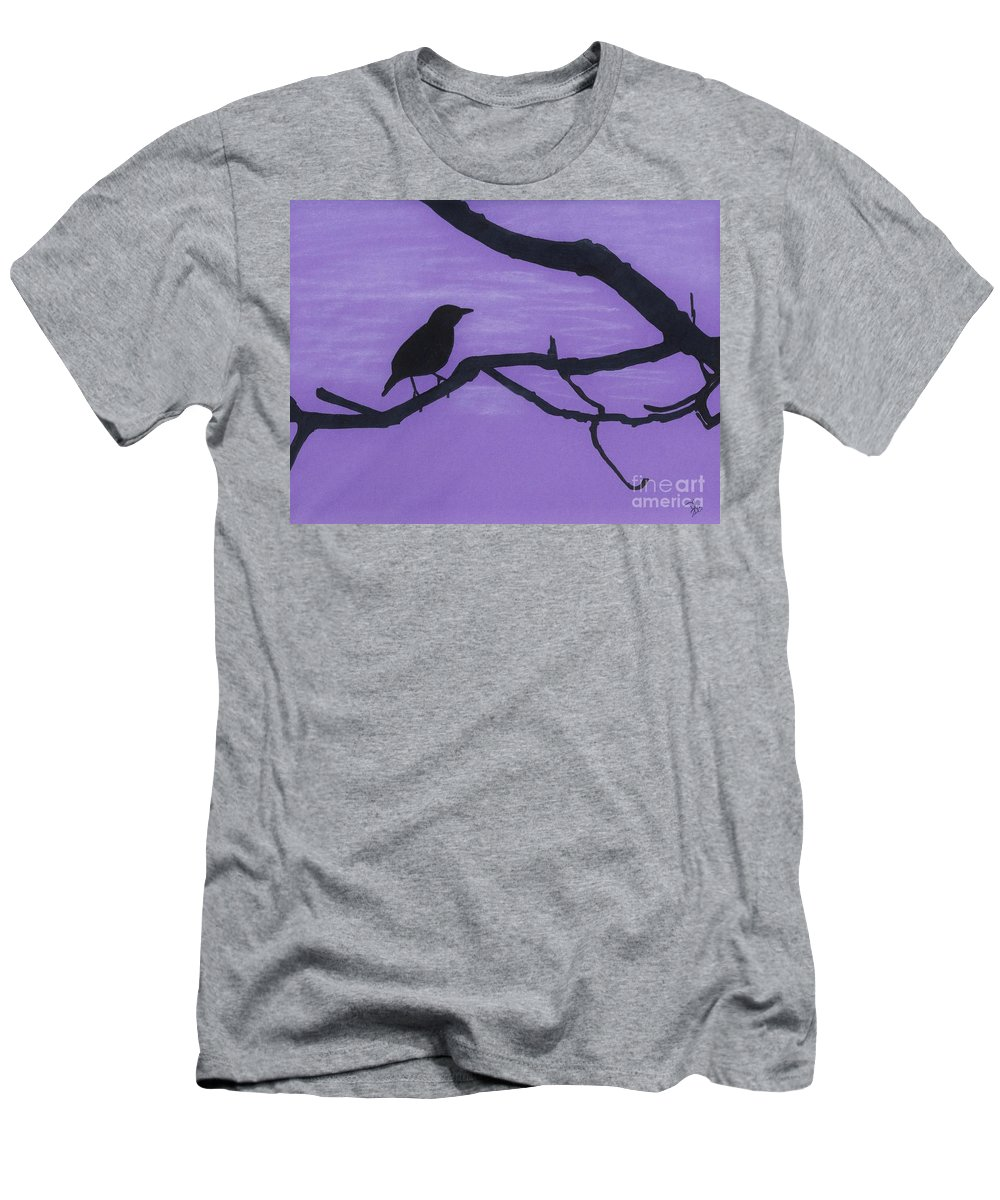 Pastels Men's T-Shirt (Athletic Fit) featuring the drawing Purple - Bird - Silhouette by D Hackett