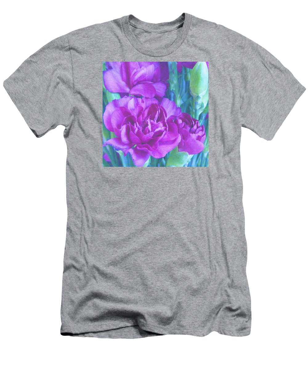 Carnations Men's T-Shirt (Athletic Fit) featuring the photograph Purple Carnations by Lillian Hibiscus
