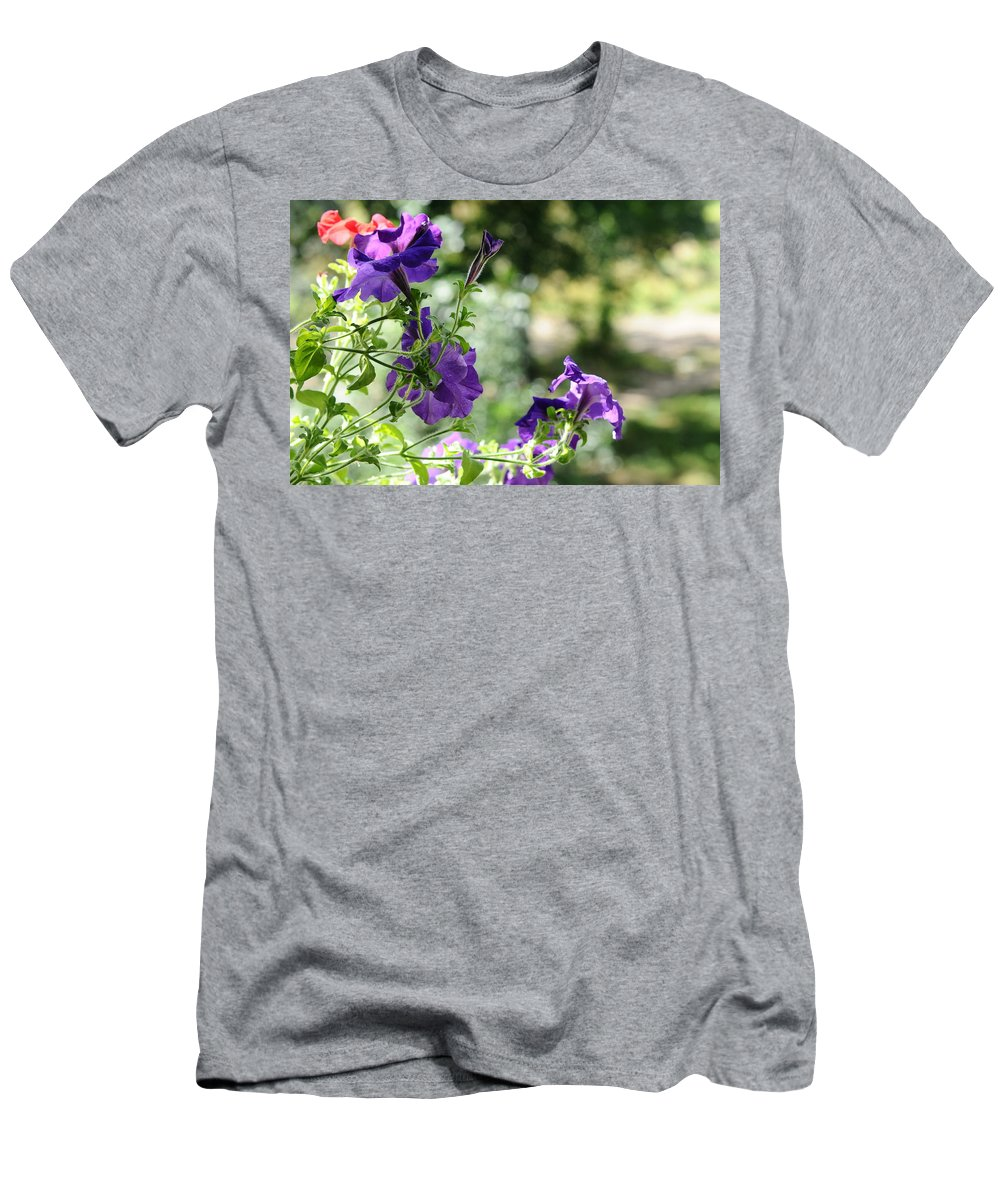 Petunia Men's T-Shirt (Athletic Fit) featuring the photograph Purple Delight. Petunia Bloom by Jenny Rainbow