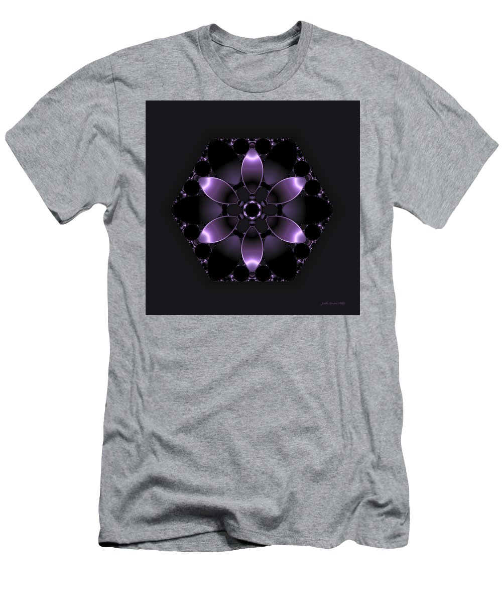 Abstract Men's T-Shirt (Athletic Fit) featuring the digital art Purple Fantasy Flower by Judi Suni Hall