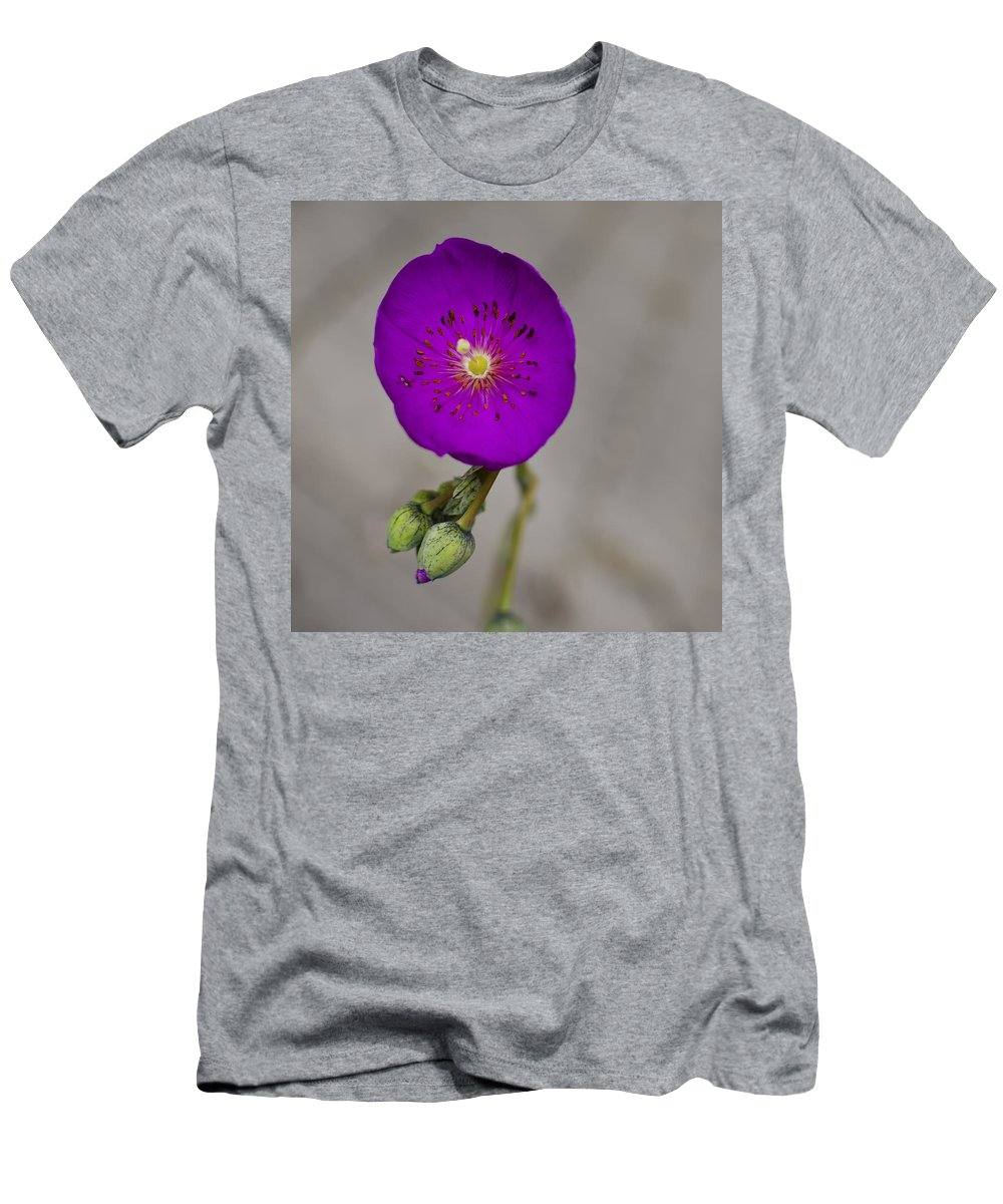 Purple Flower Men's T-Shirt (Athletic Fit) featuring the photograph Purple Flower With Buds by Ron White