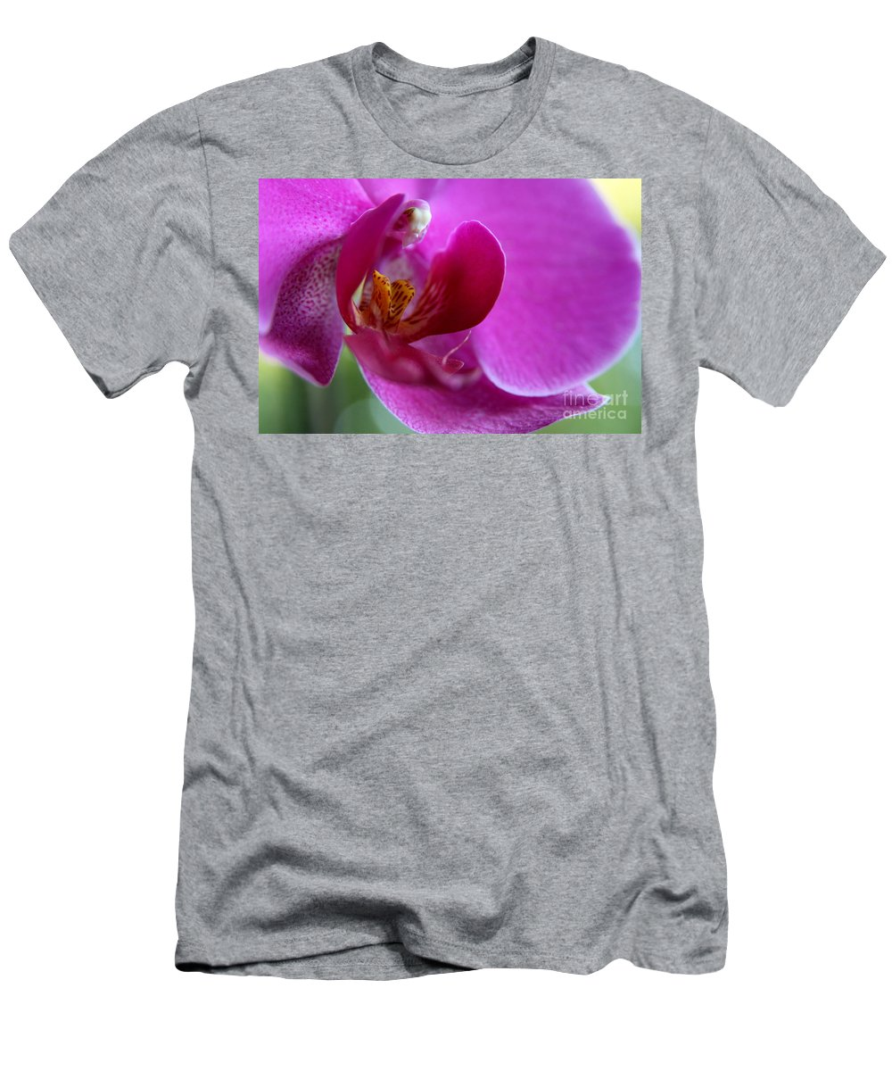 Purple Orchid Men's T-Shirt (Athletic Fit) featuring the photograph Purple Orchid Exploration by Neal Eslinger