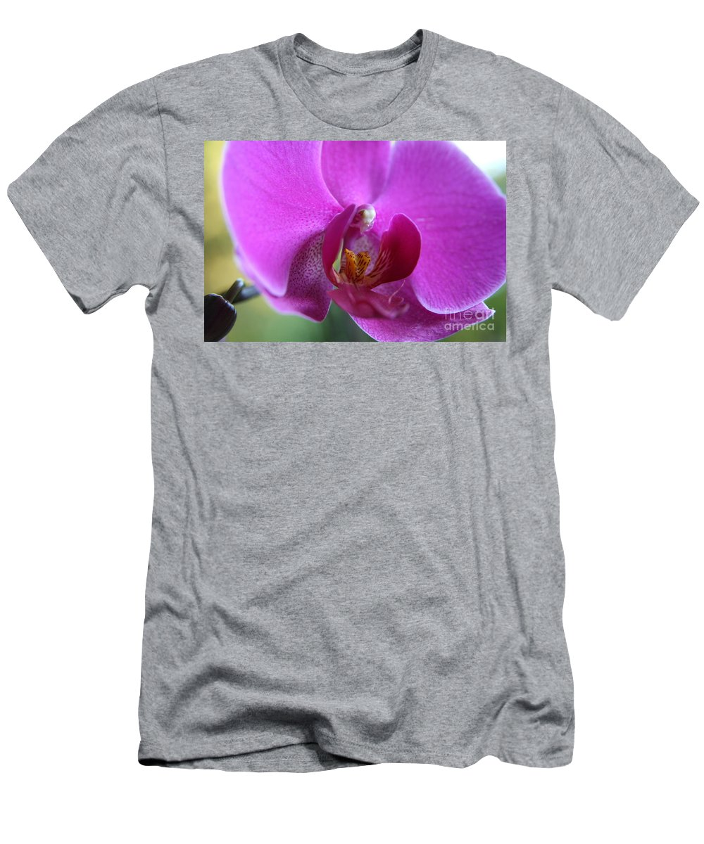 Purple Orchid Men's T-Shirt (Athletic Fit) featuring the photograph Purple Orchid by Neal Eslinger
