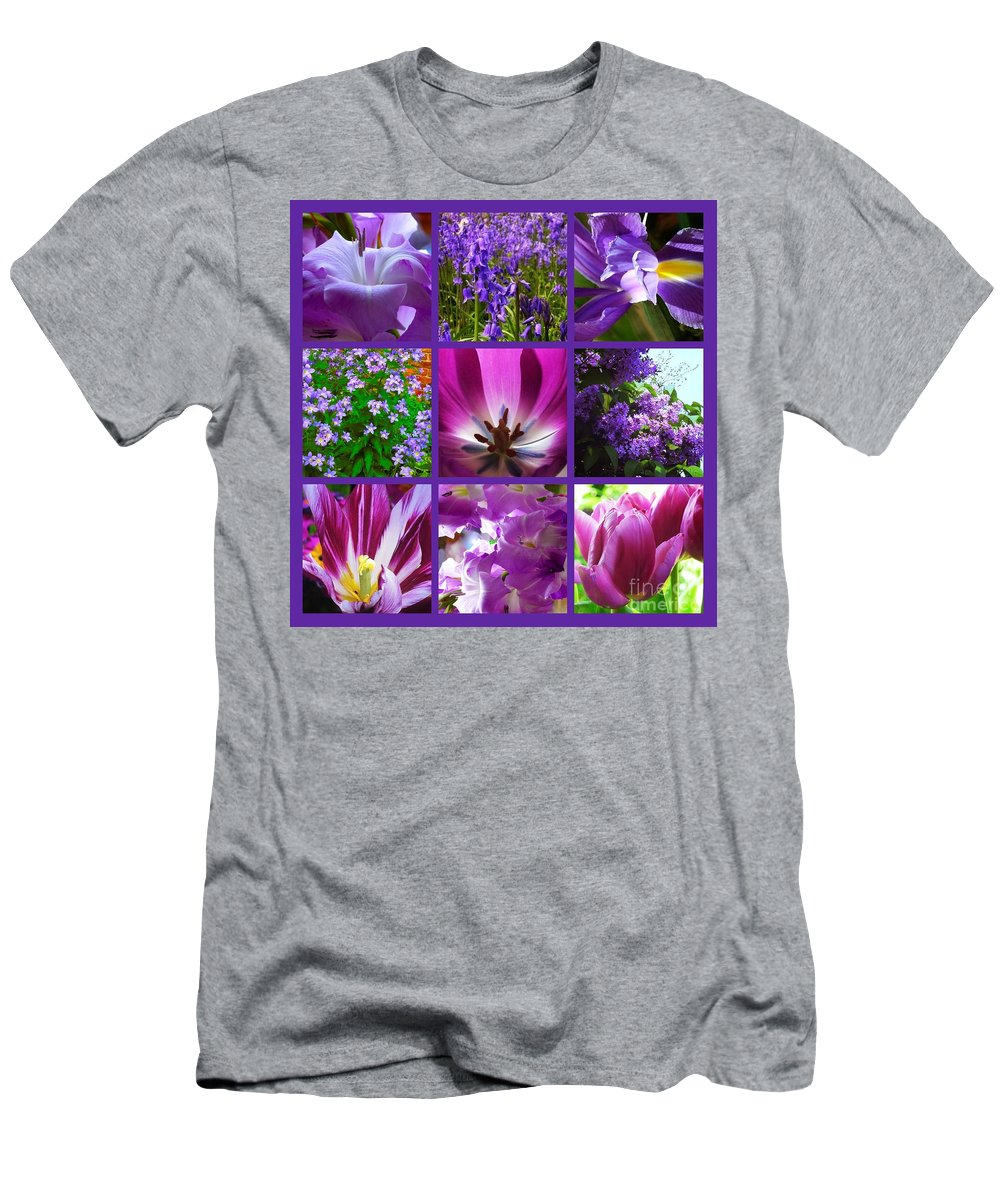Purple Flowers Men's T-Shirt (Athletic Fit) featuring the photograph Purple Window by Joan-Violet Stretch