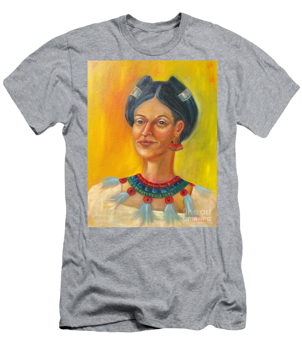 Aztec Men's T-Shirt (Athletic Fit) featuring the painting Queen Centehua by Lilibeth Andre