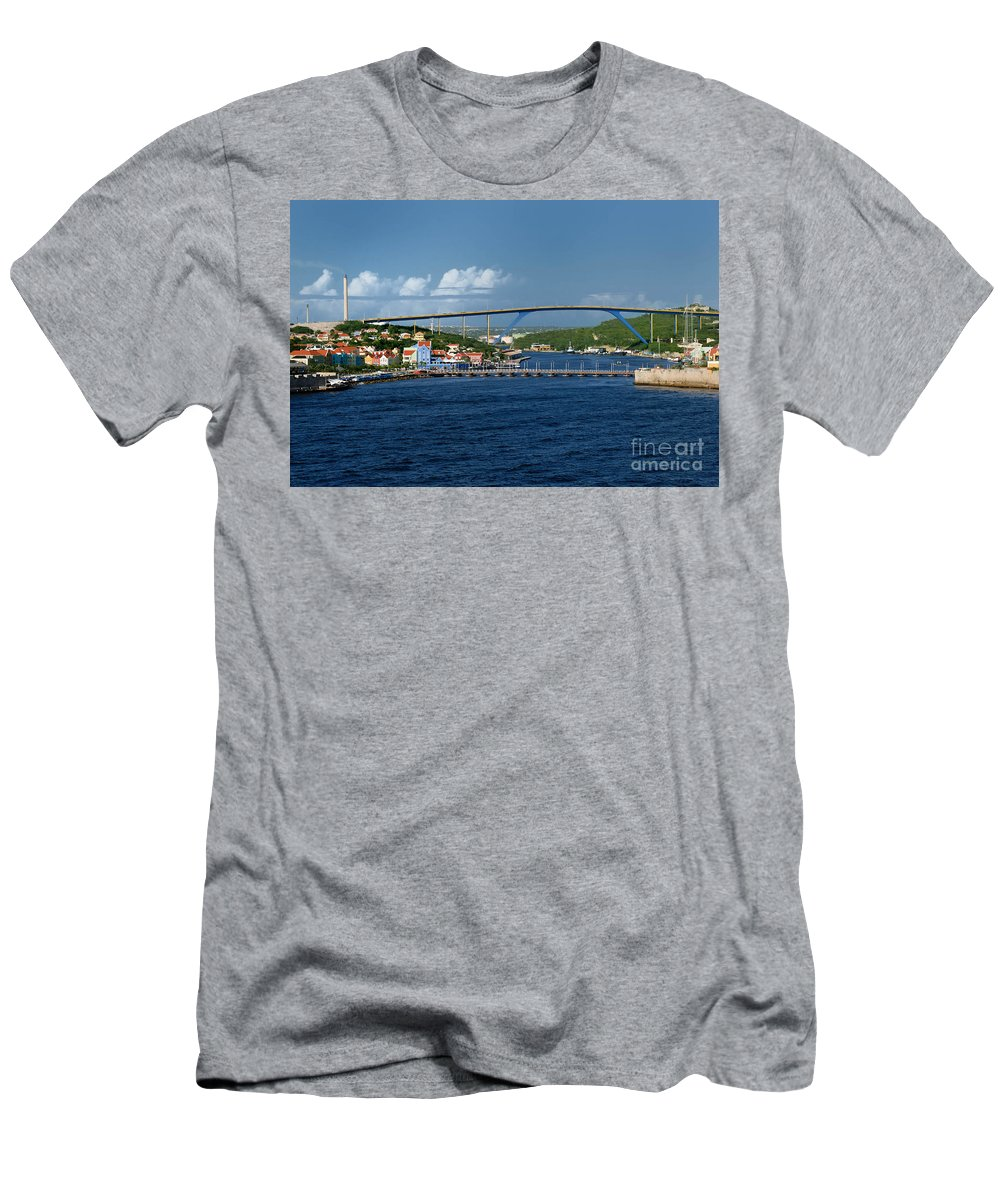 Willemstad Men's T-Shirt (Athletic Fit) featuring the photograph Queen Juliana Bridge Queen Emma Bridge Curacao by Amy Cicconi