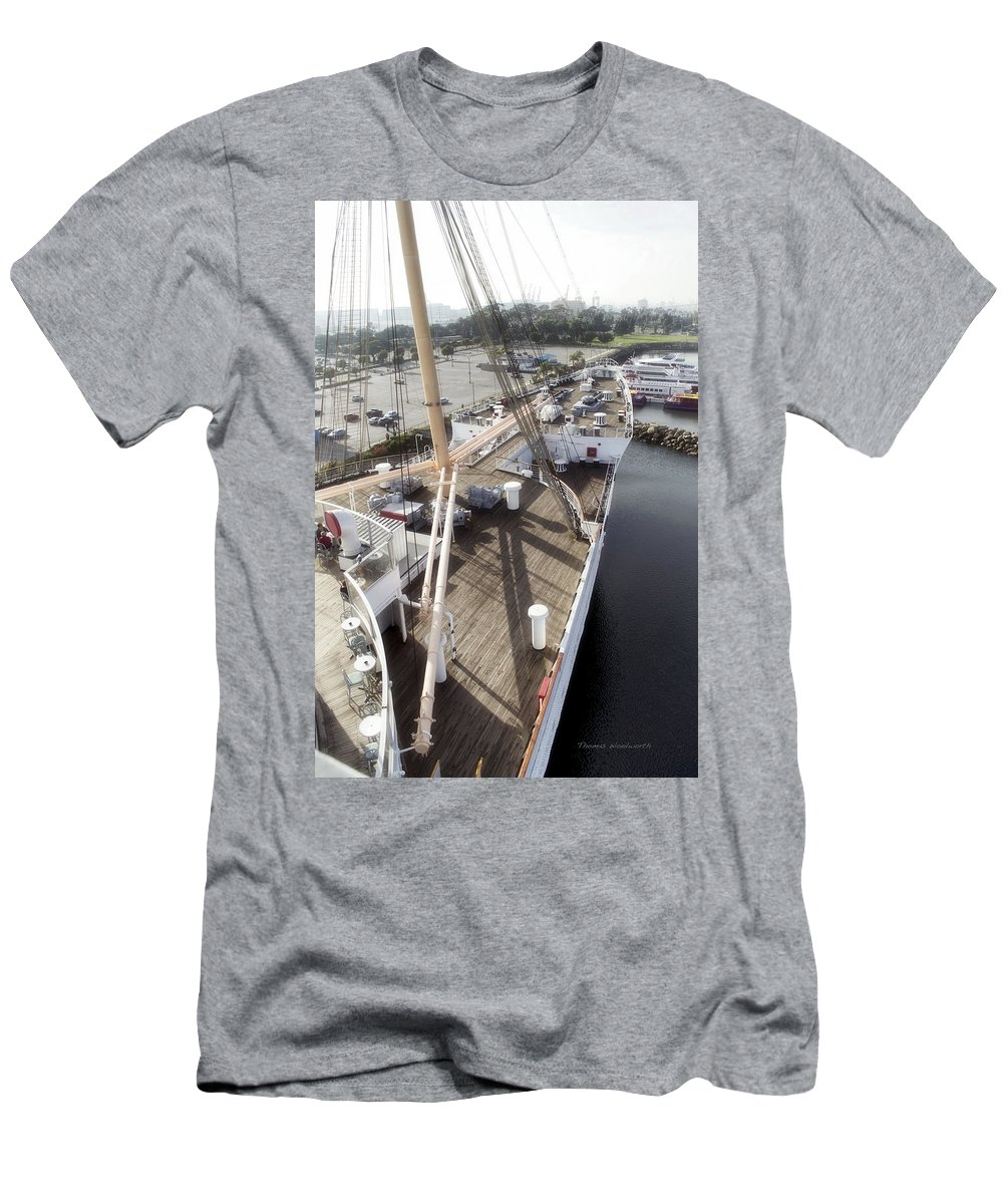 Queen Mary Men's T-Shirt (Athletic Fit) featuring the photograph Queen Mary Ocean Liner Bow 03 Long Beach Ca by Thomas Woolworth