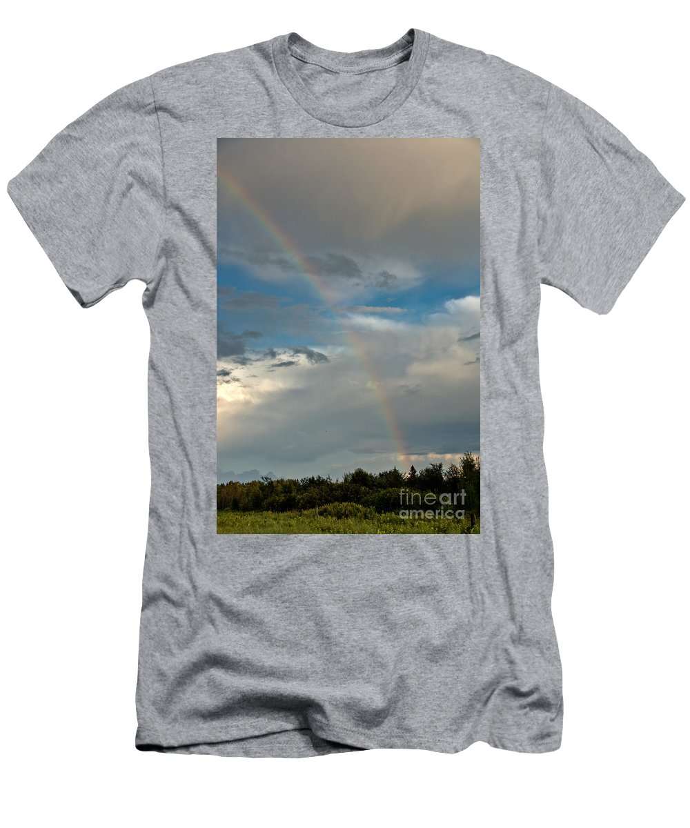 Rainbow Men's T-Shirt (Athletic Fit) featuring the photograph Rainbow Through The Clouds by Cheryl Baxter