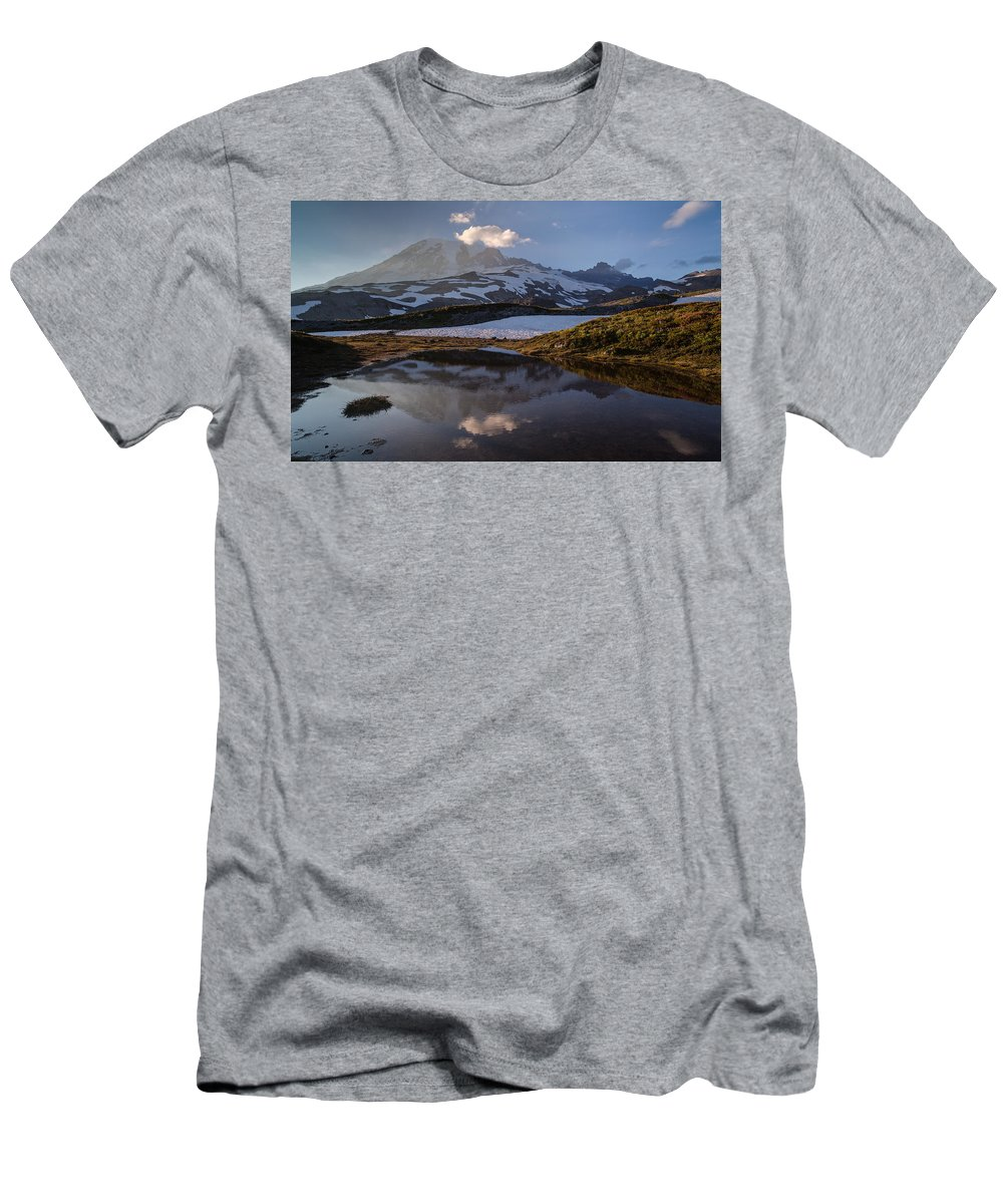 Rainier Men's T-Shirt (Athletic Fit) featuring the photograph Rainier Reflected In A Glacial Tarn by Mike Reid