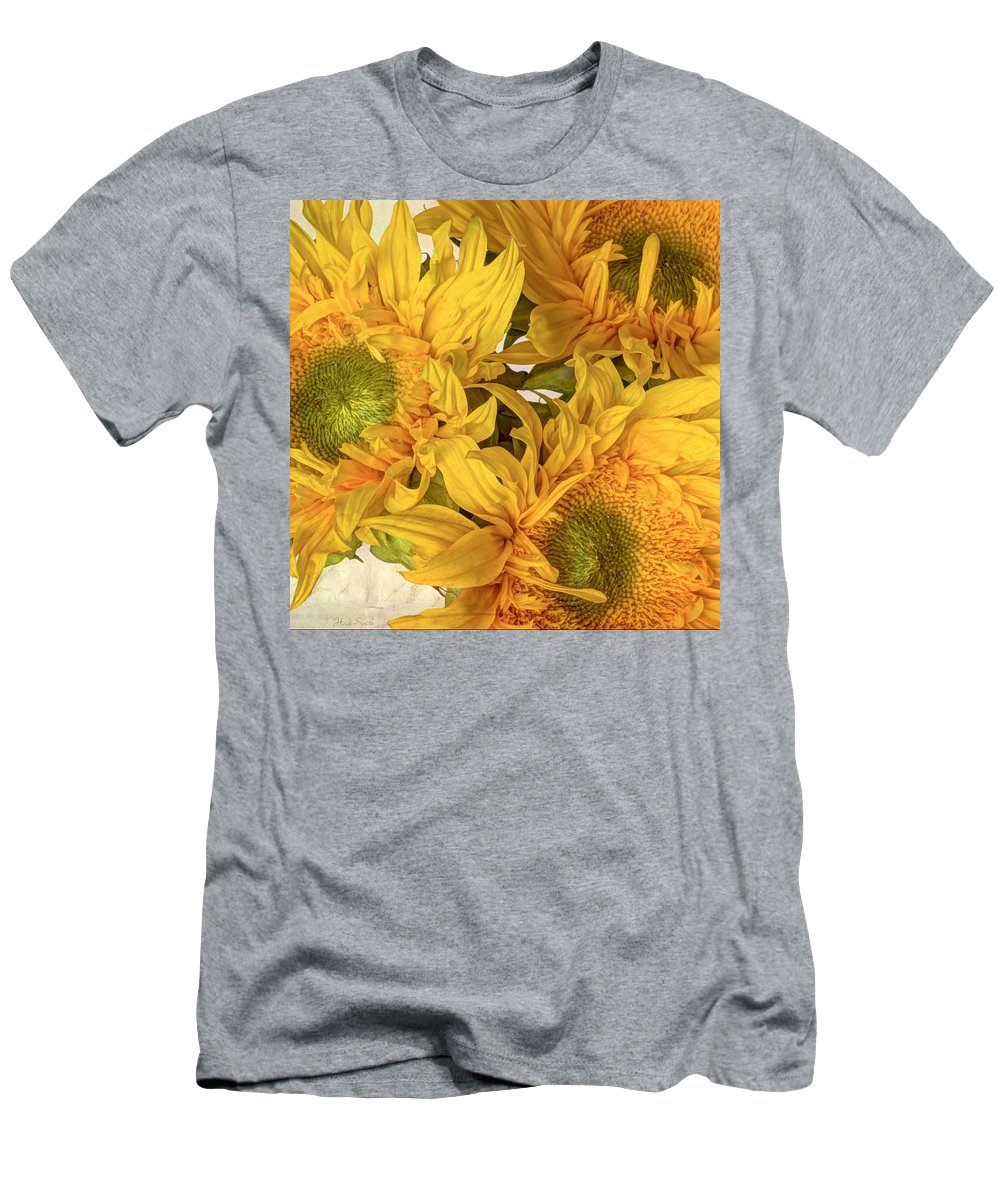 Sunflowers Men's T-Shirt (Athletic Fit) featuring the photograph Rays by Heidi Smith