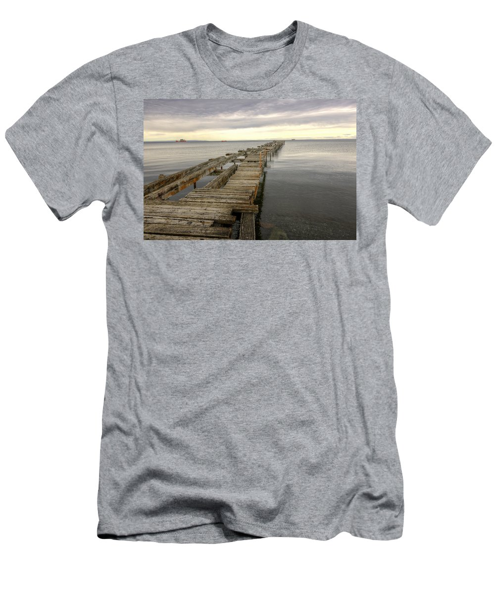 Pier Men's T-Shirt (Athletic Fit) featuring the photograph Reaching To The Horizon by Claudio Bacinello