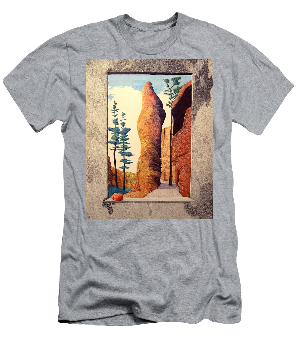 Landscape Men's T-Shirt (Athletic Fit) featuring the painting Reared Window by A Robert Malcom