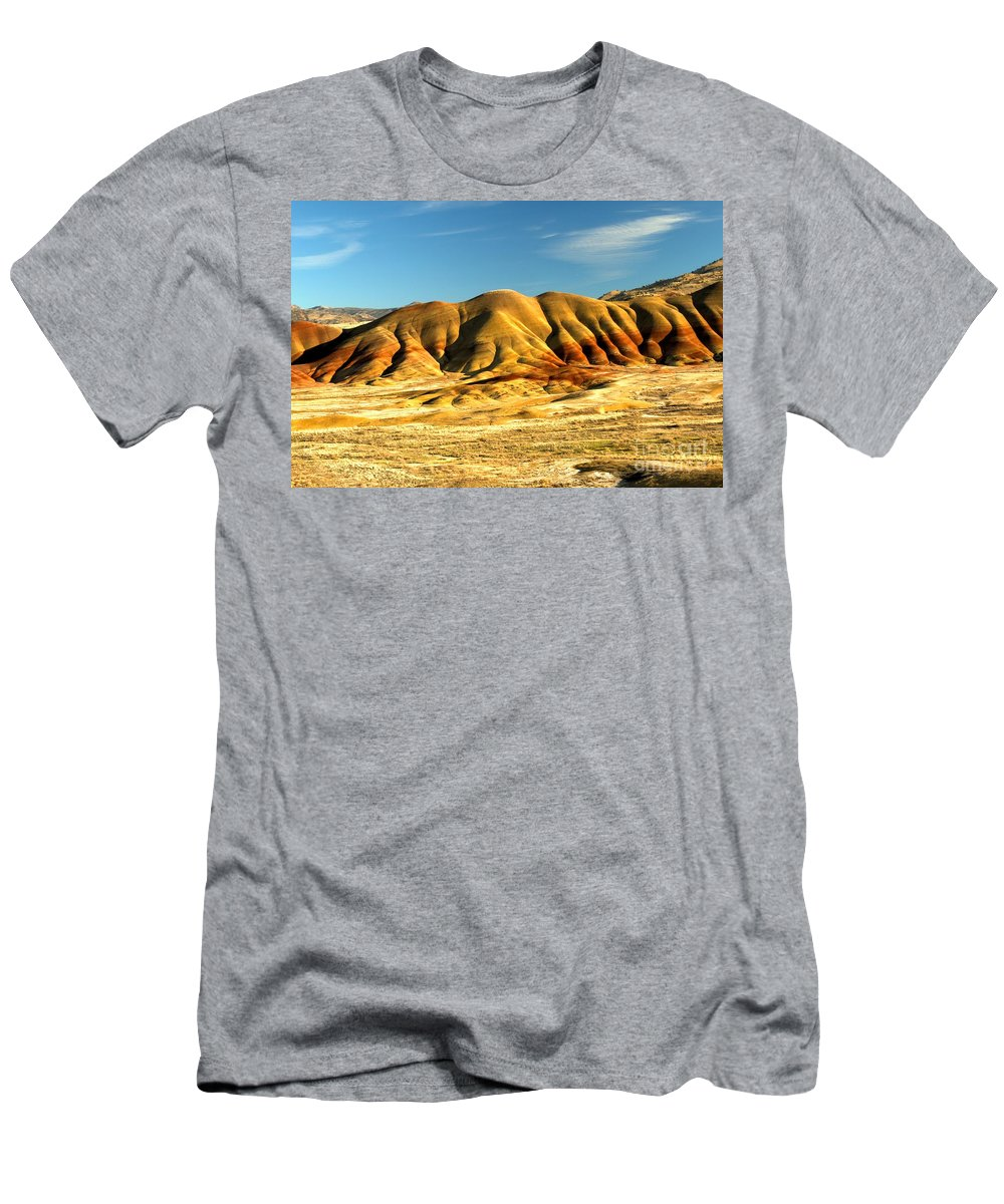 Painted Hills Men's T-Shirt (Athletic Fit) featuring the photograph Red And Yellow Painted Hills by Adam Jewell