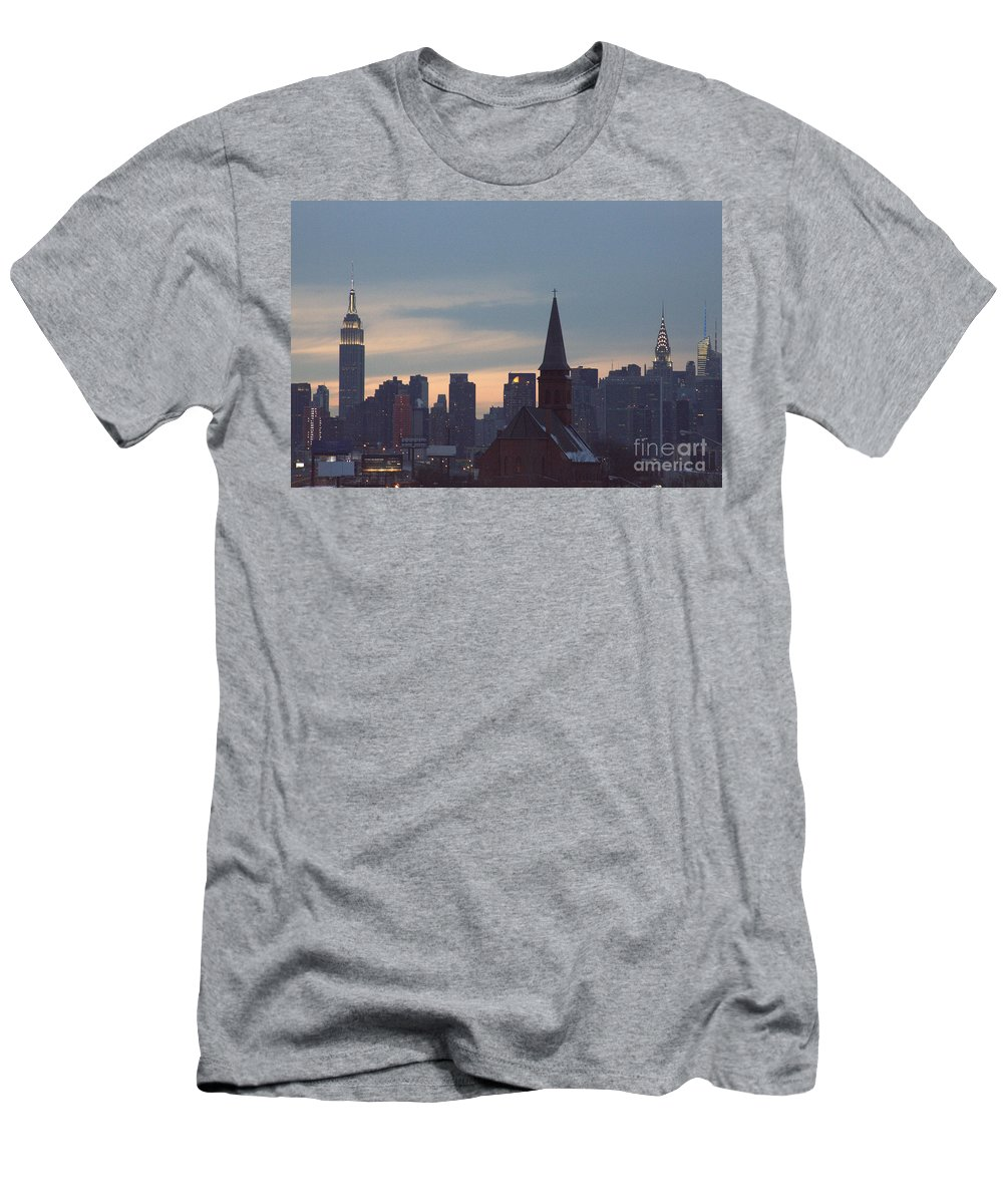 Red Church Men's T-Shirt (Athletic Fit) featuring the photograph Red Church by Steven Macanka