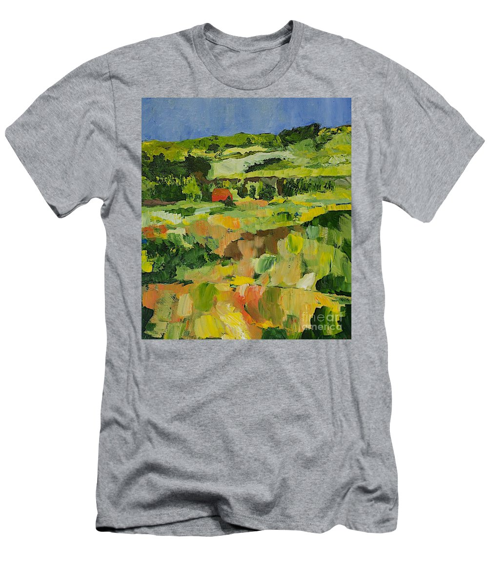 Landscape Men's T-Shirt (Athletic Fit) featuring the painting Red Cottage by Allan P Friedlander