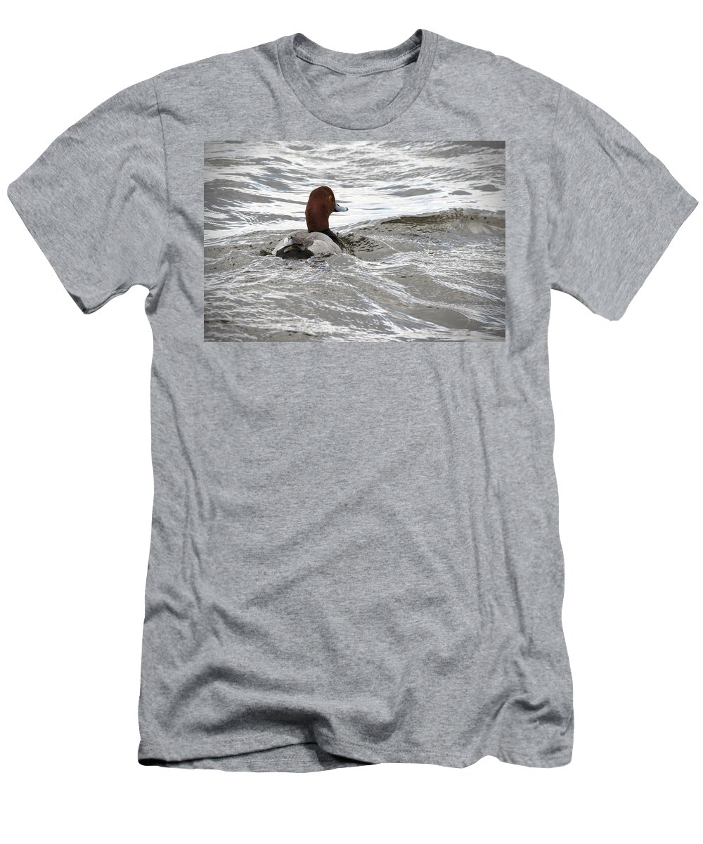 Red Head Duck Men's T-Shirt (Athletic Fit) featuring the photograph Red Head Pride by Jayne Gohr