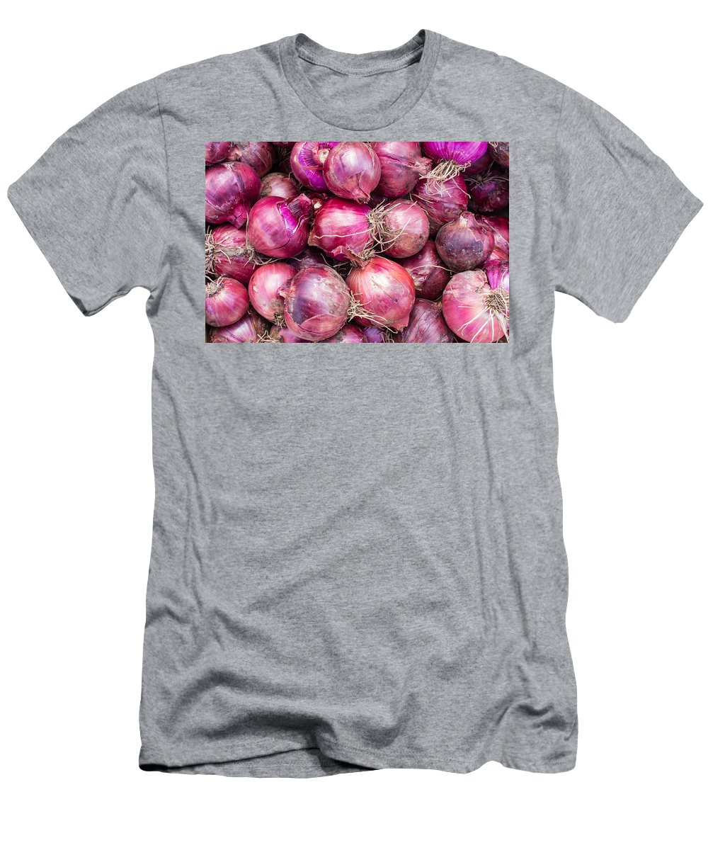 Agriculture Men's T-Shirt (Athletic Fit) featuring the photograph Red Onions by John Trax