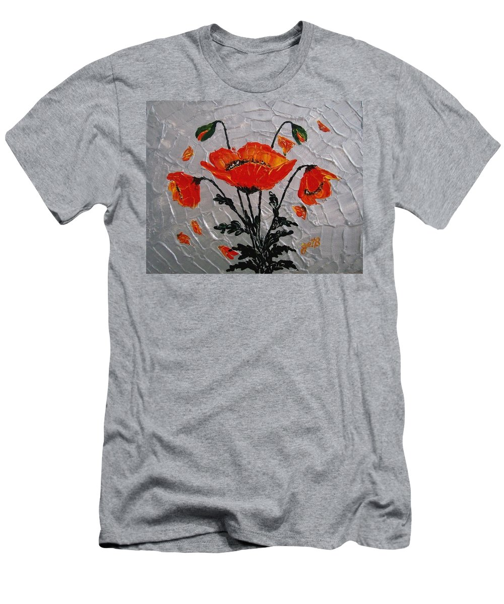 Red Poppies Men's T-Shirt (Athletic Fit) featuring the painting Red Poppies Original Palette Knife by Georgeta Blanaru