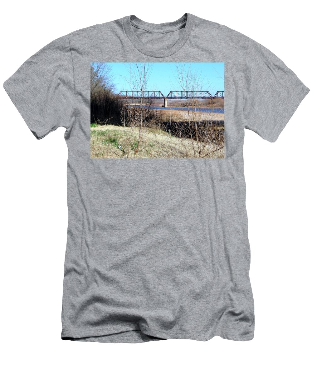 Red River I 35 Train Trussell Men's T-Shirt (Athletic Fit) featuring the photograph Red River I 35 Train Trussell by Amy Hosp