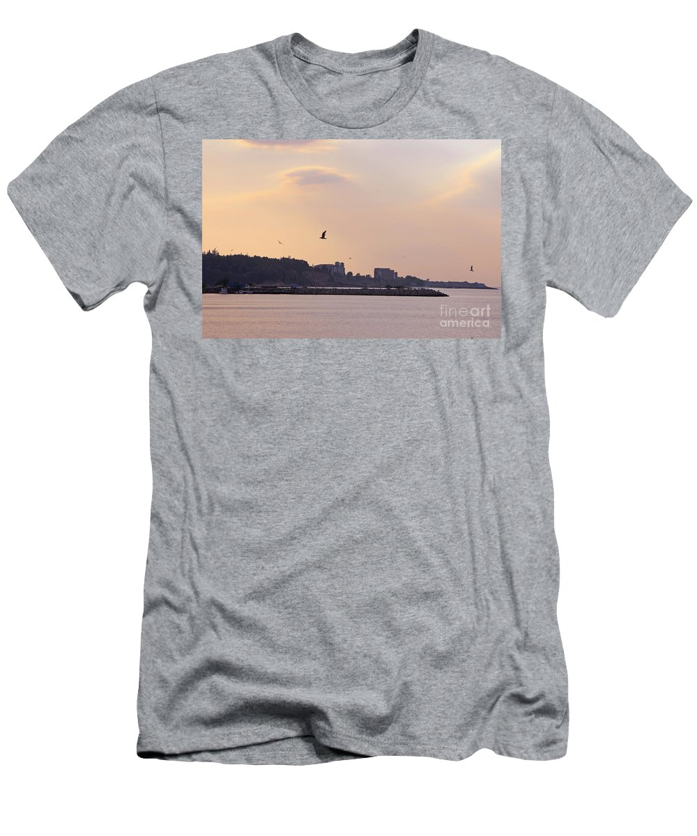 Nessebar Men's T-Shirt (Athletic Fit) featuring the photograph Red Sunset In Nessebar by Lali Kacharava