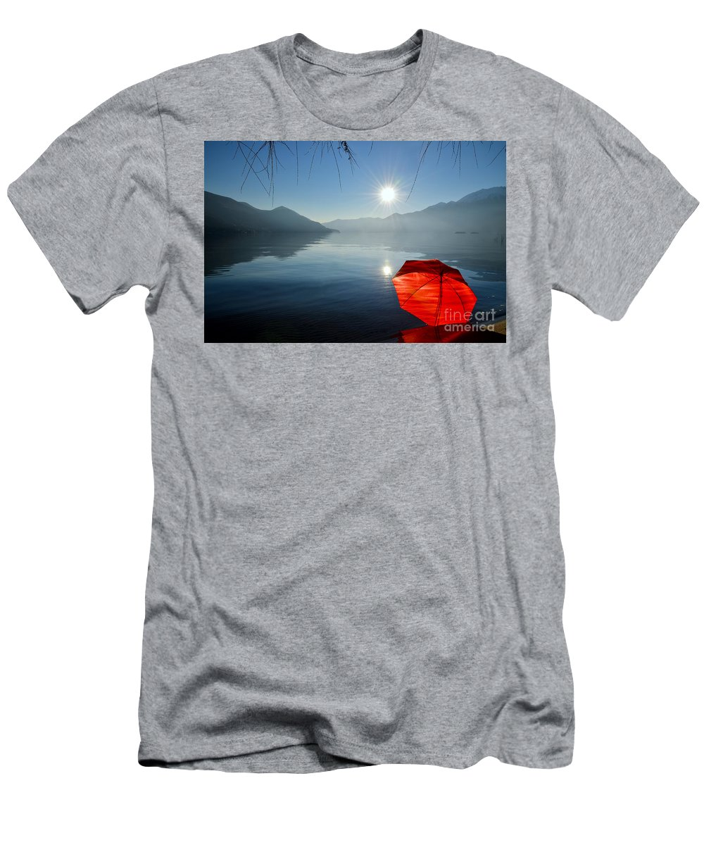 Umbrella Men's T-Shirt (Athletic Fit) featuring the photograph Red Umbrella On The Beach by Mats Silvan