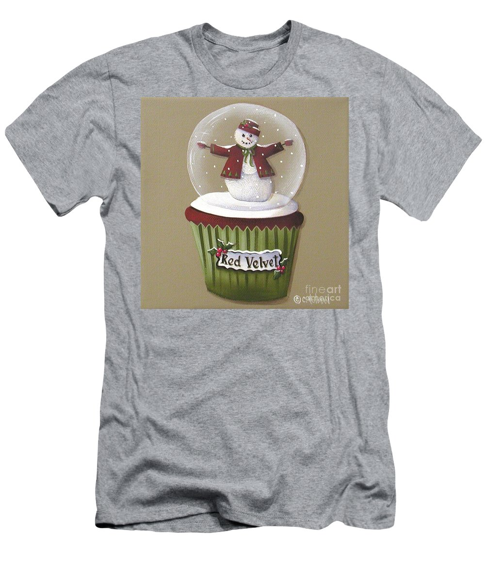 Art Men's T-Shirt (Athletic Fit) featuring the painting Red Velvet Cupcake by Catherine Holman