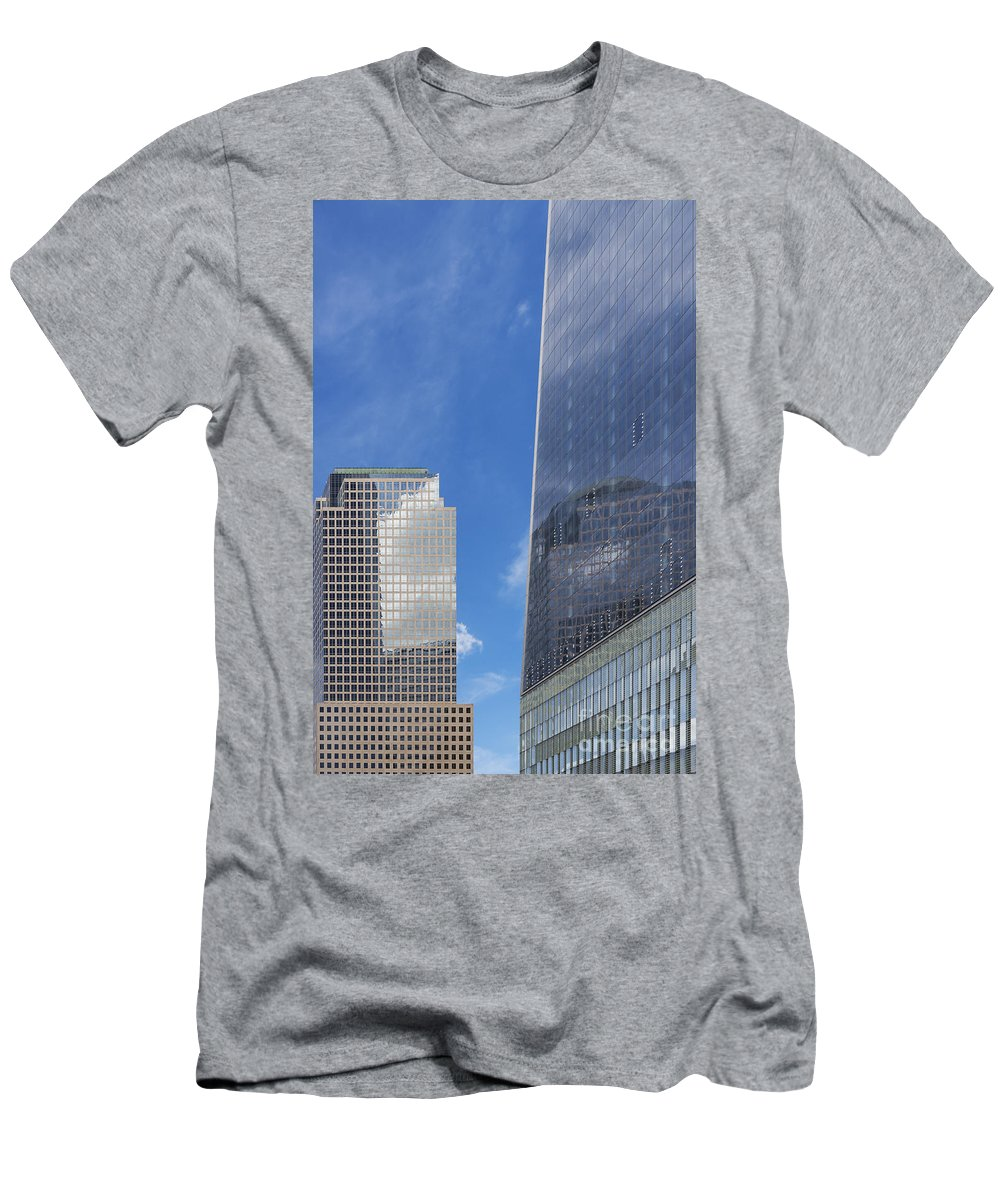 New York City Cityscape Cityscapes Building Buildings Architecture Cities Structure Structures Skyscraper Skyscrapers Line Lines Window Windows Reflection Reflections Cloud Clouds Men's T-Shirt (Athletic Fit) featuring the photograph Reflection Of One In Another by Bob Phillips