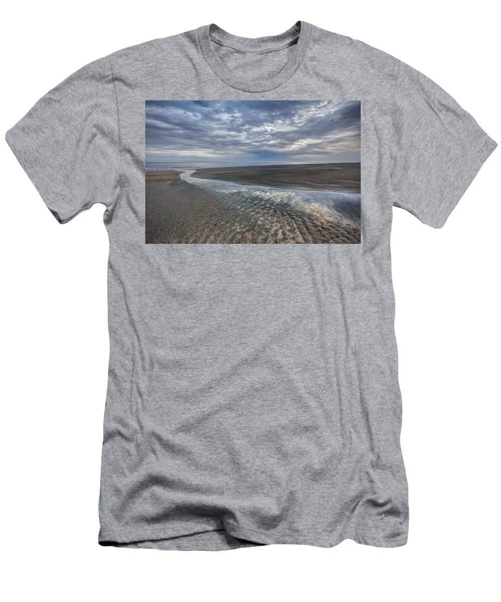 Clouds Men's T-Shirt (Athletic Fit) featuring the photograph Reflections At Low Tide by Debra and Dave Vanderlaan