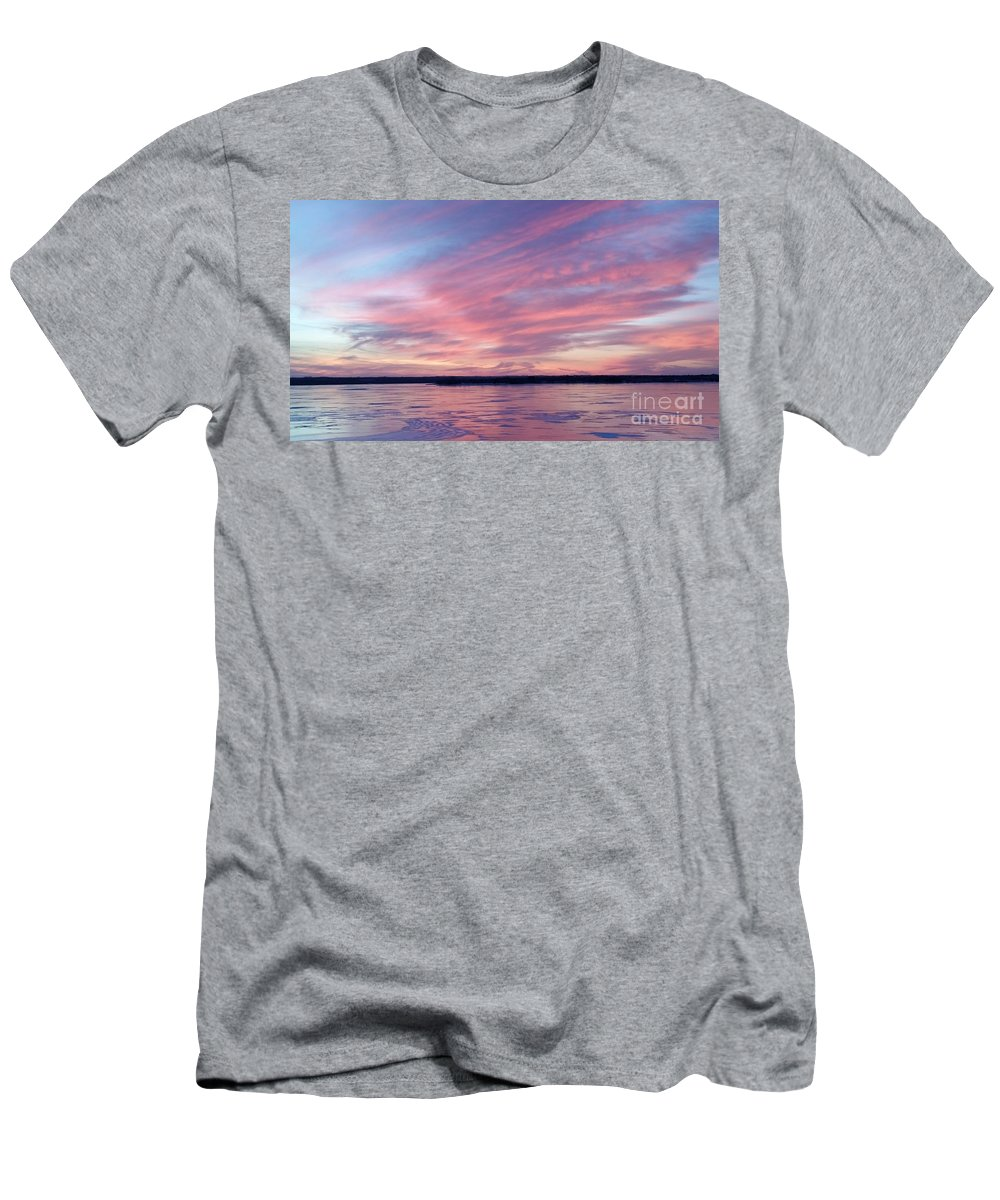 Branched Oak Lake Men's T-Shirt (Athletic Fit) featuring the photograph Reflections In Pink by Caryl J Bohn