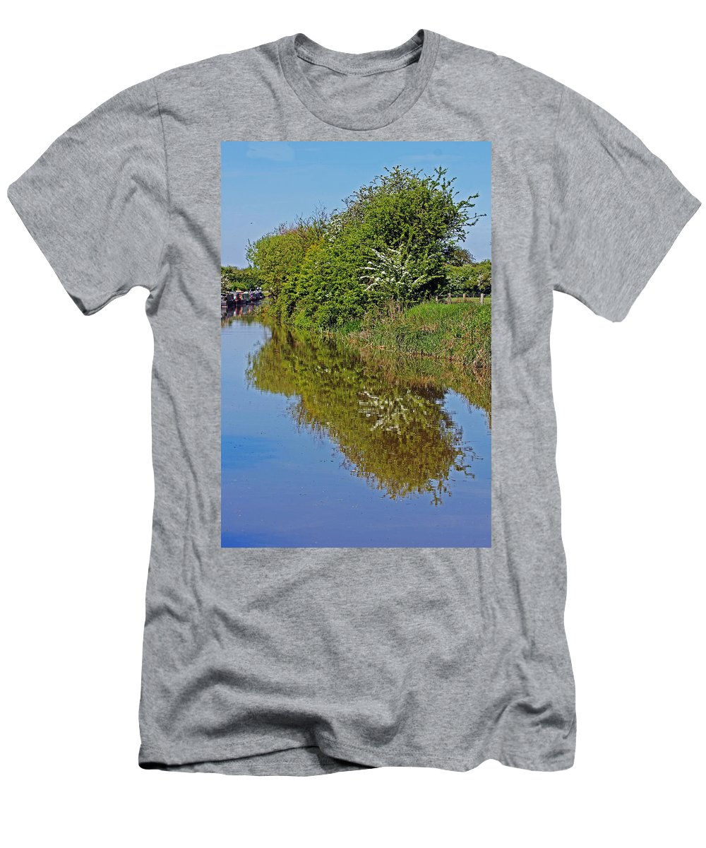 Oxford Canal Men's T-Shirt (Athletic Fit) featuring the photograph Reflections Of Trees by Tony Murtagh