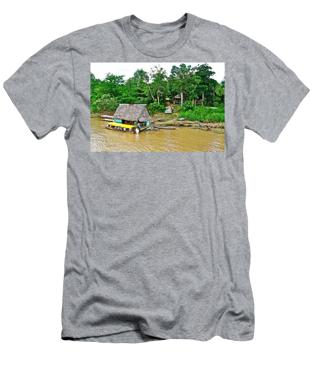 Refueling Along The Amazon River Men's T-Shirt (Athletic Fit) featuring the photograph Refueling Along The Amazon River-peru by Ruth Hager