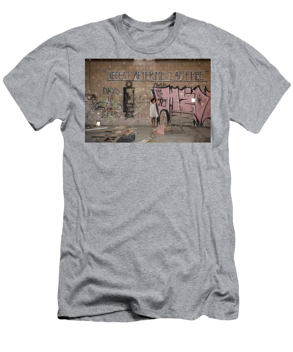 Niland Men's T-Shirt (Athletic Fit) featuring the photograph Repeat After Me by Hugh Smith