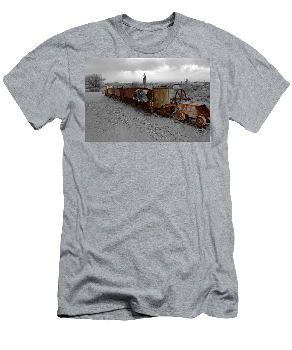 Retired Mining Equipment Men's T-Shirt (Athletic Fit) featuring the photograph Retired Mining Ore Cars by Richard J Cassato