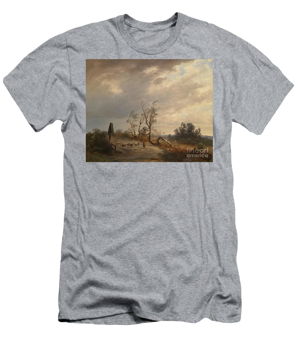 Josef Wenglein Men's T-Shirt (Athletic Fit) featuring the painting Returning Home Before An Approaching Storm by Celestial Images