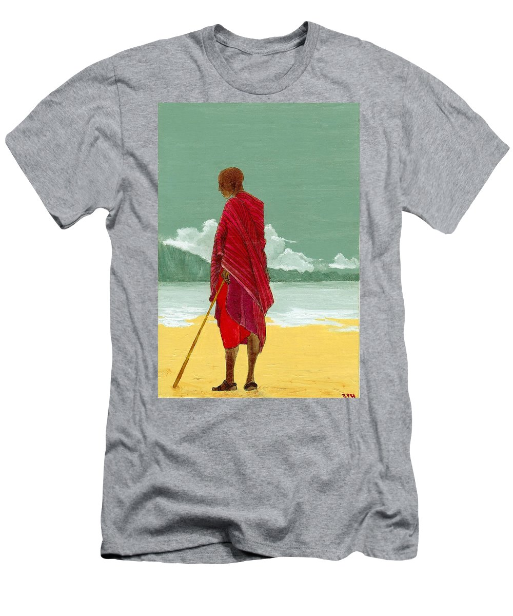 Figurative Painting Men's T-Shirt (Athletic Fit) featuring the painting Reverence by Edith Peterson-Watson