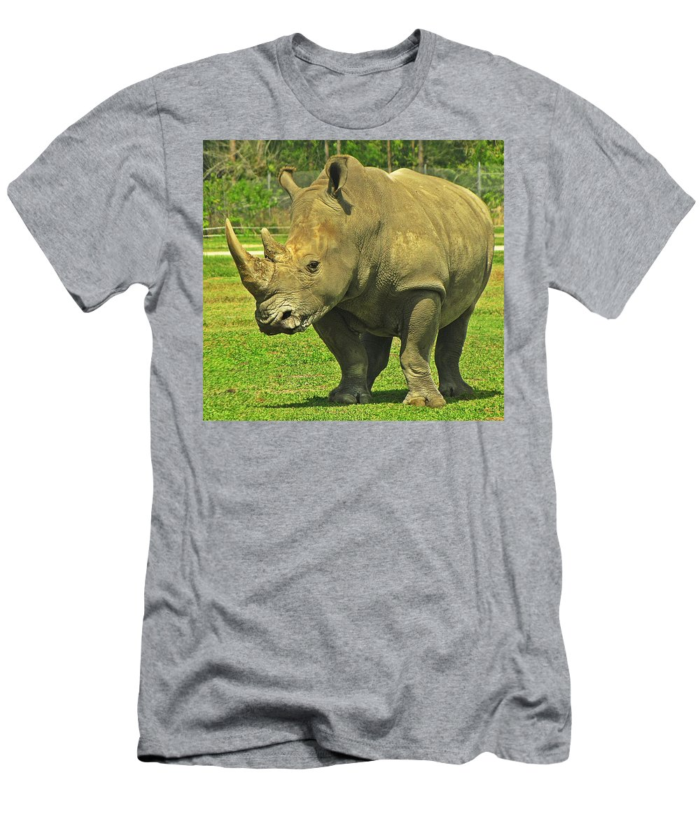 Rhino Men's T-Shirt (Athletic Fit) featuring the photograph Rhino Look by MTBobbins Photography