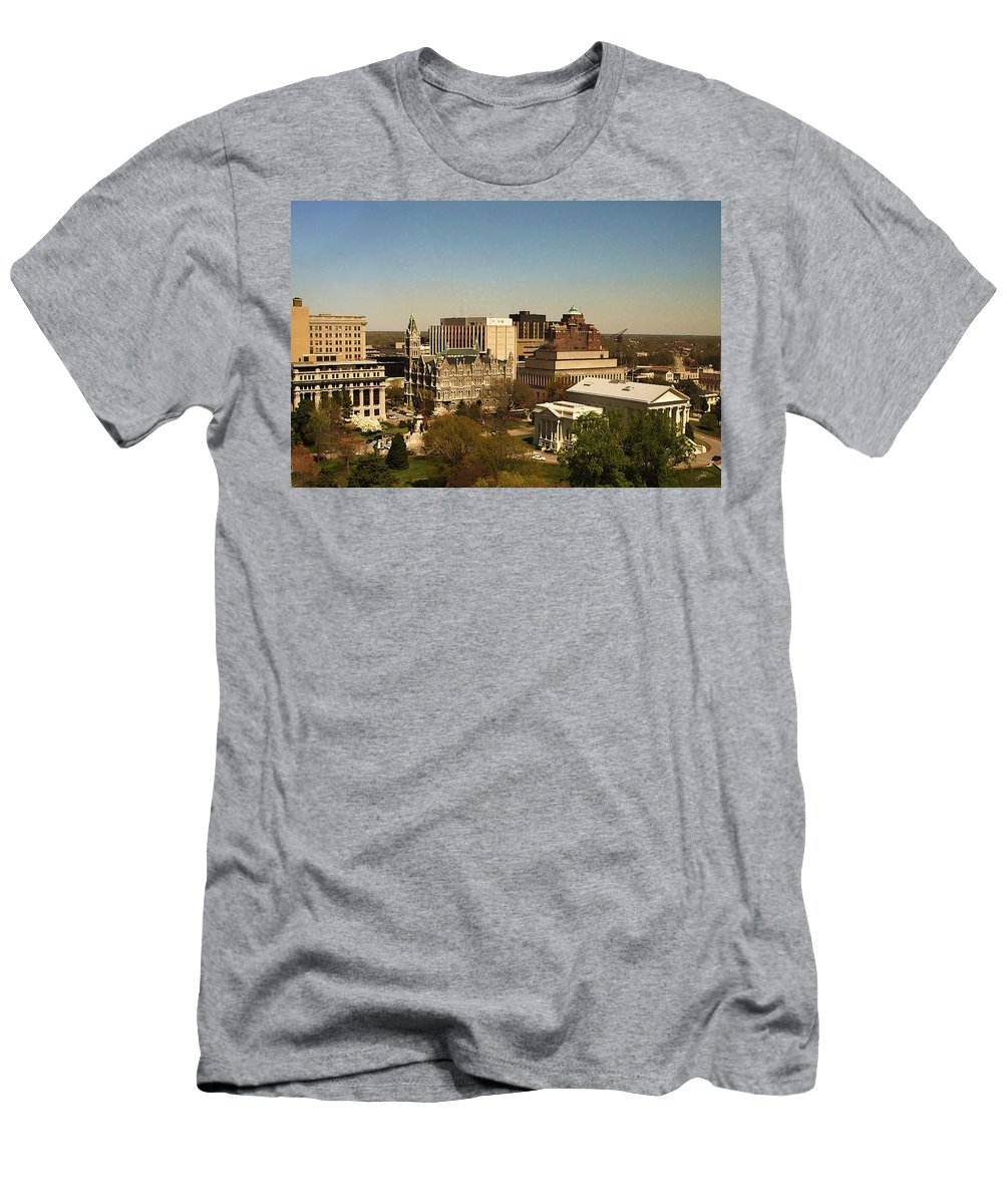 Nature Men's T-Shirt (Athletic Fit) featuring the photograph Richmond Virginia - Old And New Capitol Buildings by Paulette B Wright