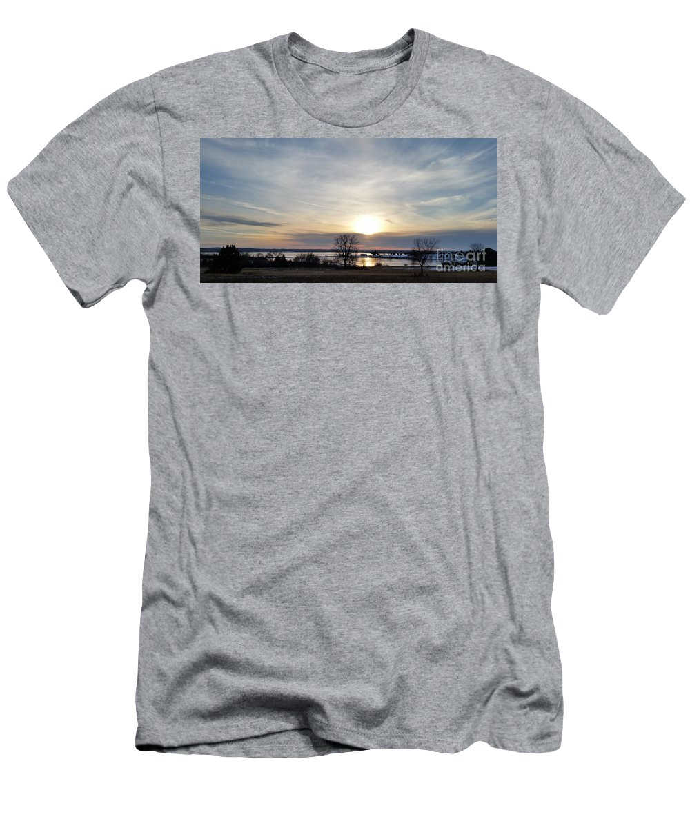 Branched Oak Lake Men's T-Shirt (Athletic Fit) featuring the photograph Rippled Sunset by Caryl J Bohn