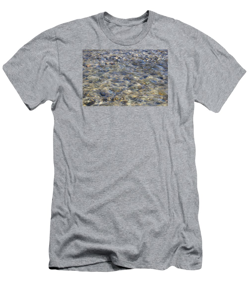 Clear Water Men's T-Shirt (Athletic Fit) featuring the photograph Rippling Water Over Rocks by Harold Hopkins