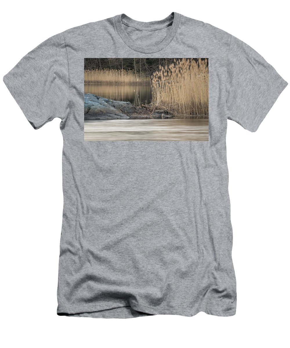 River Men's T-Shirt (Athletic Fit) featuring the photograph River Rock And Reeds by David Stone