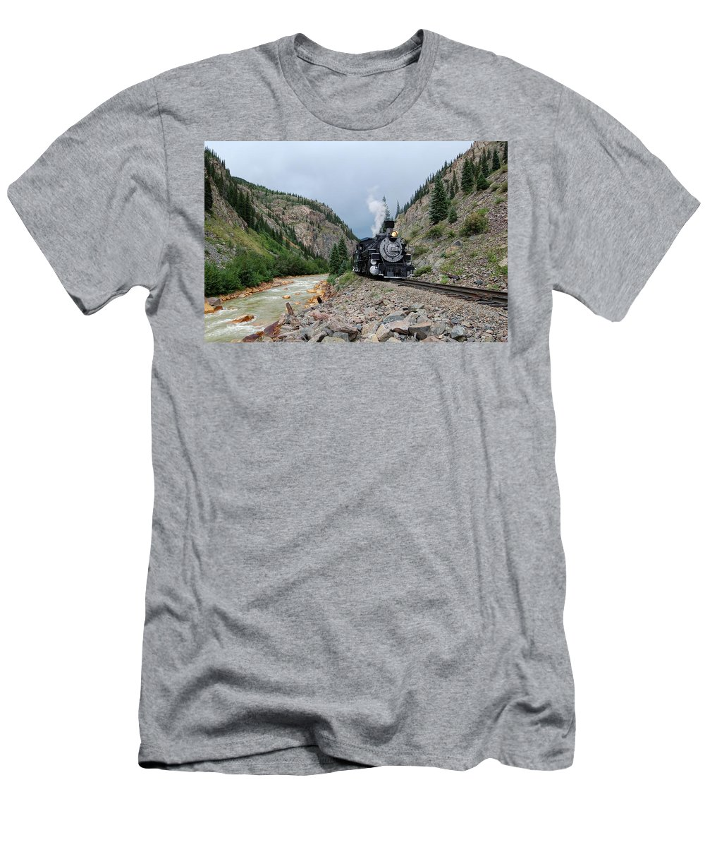Steam Train Photographs Men's T-Shirt (Athletic Fit) featuring the photograph River Run by Ken Smith