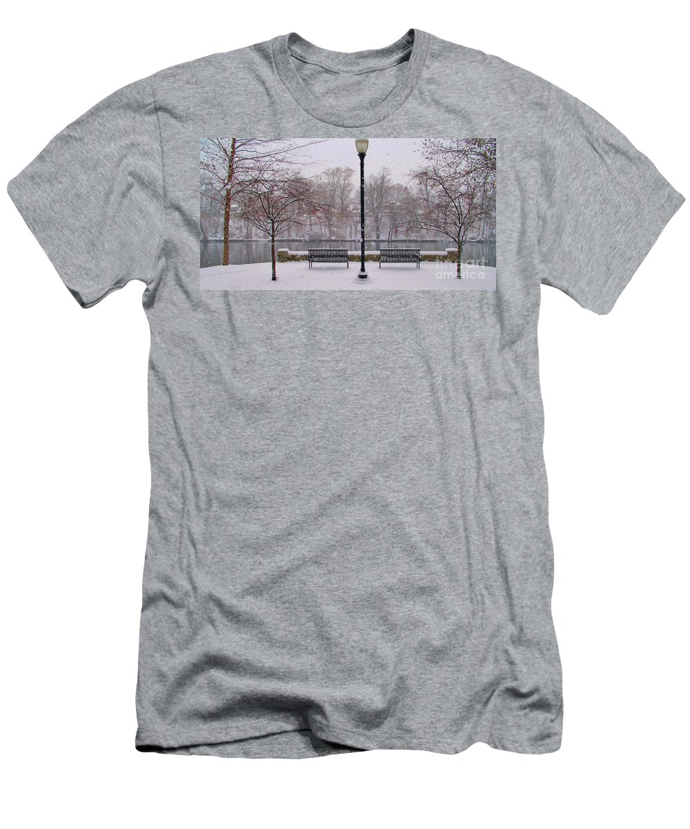 Riverscape Men's T-Shirt (Athletic Fit) featuring the photograph Riverside Overlook In Snowfall by Rory Cubel