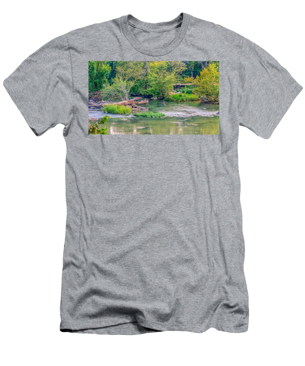 Background Men's T-Shirt (Athletic Fit) featuring the photograph Riverwalk Park II by Rob Sellers