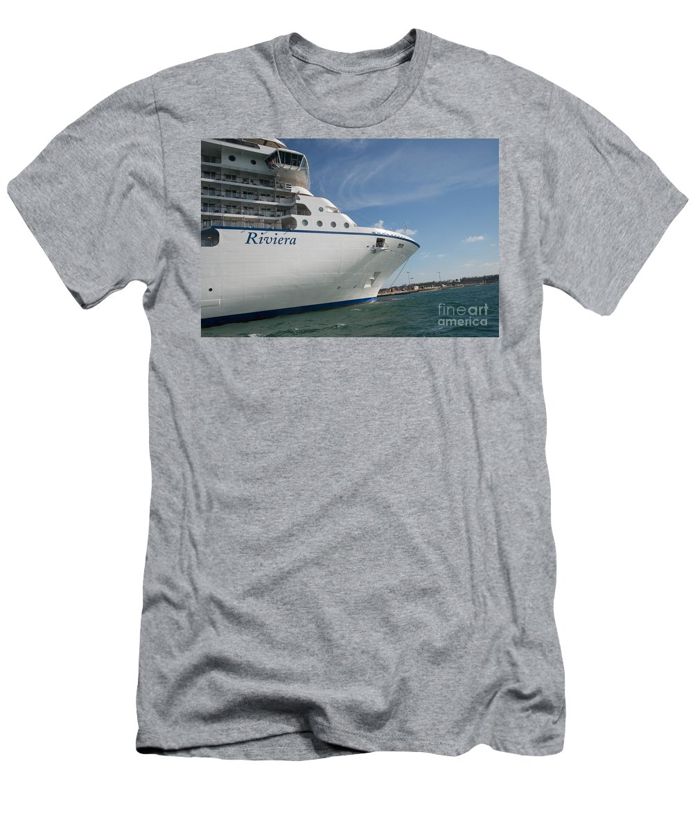 Boats Men's T-Shirt (Athletic Fit) featuring the digital art Riviera Ocean Liner by Carol Ailles