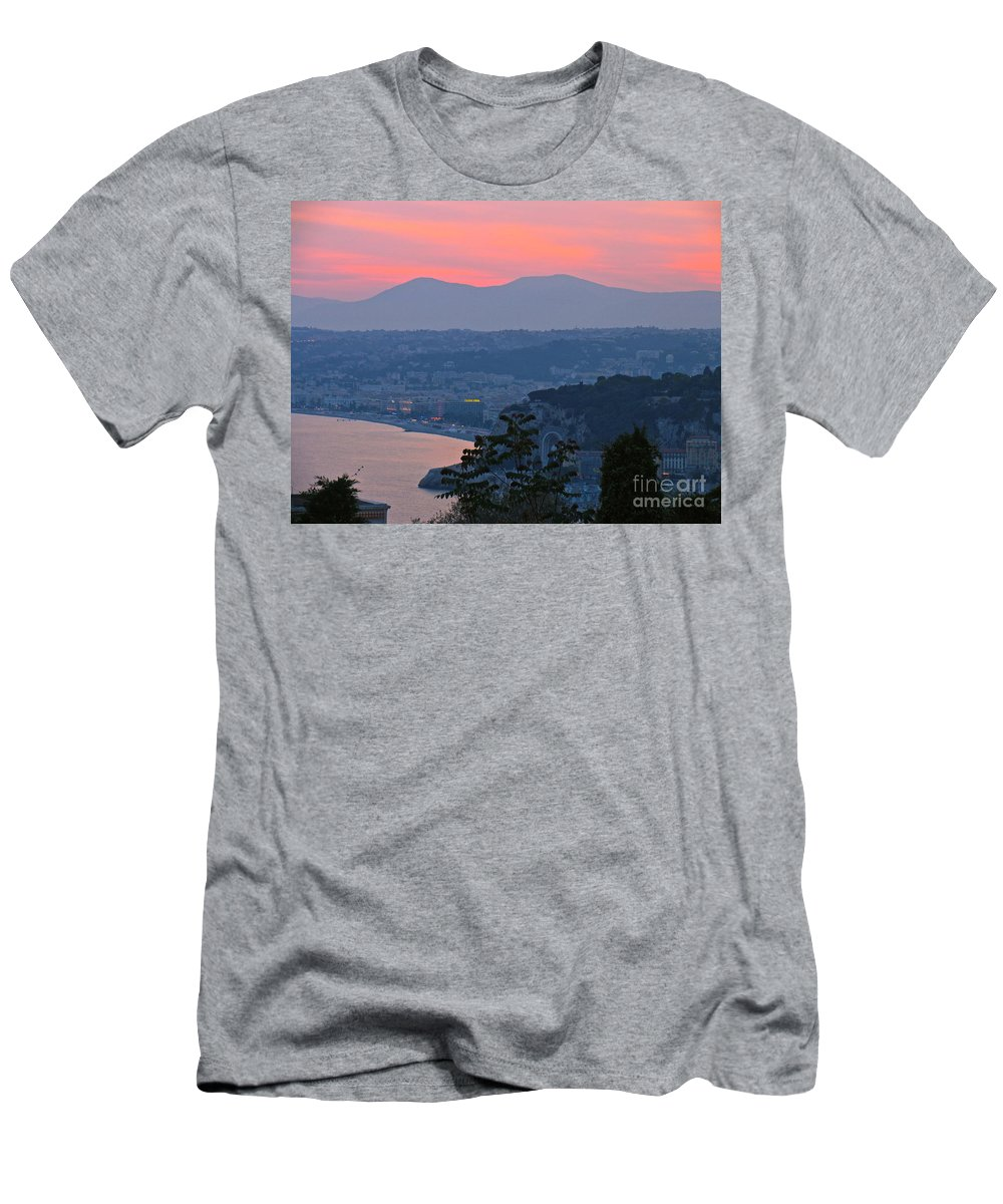 France Nice Sunset Riviera Men's T-Shirt (Athletic Fit) featuring the photograph Riviera Sunset by Suzanne Oesterling