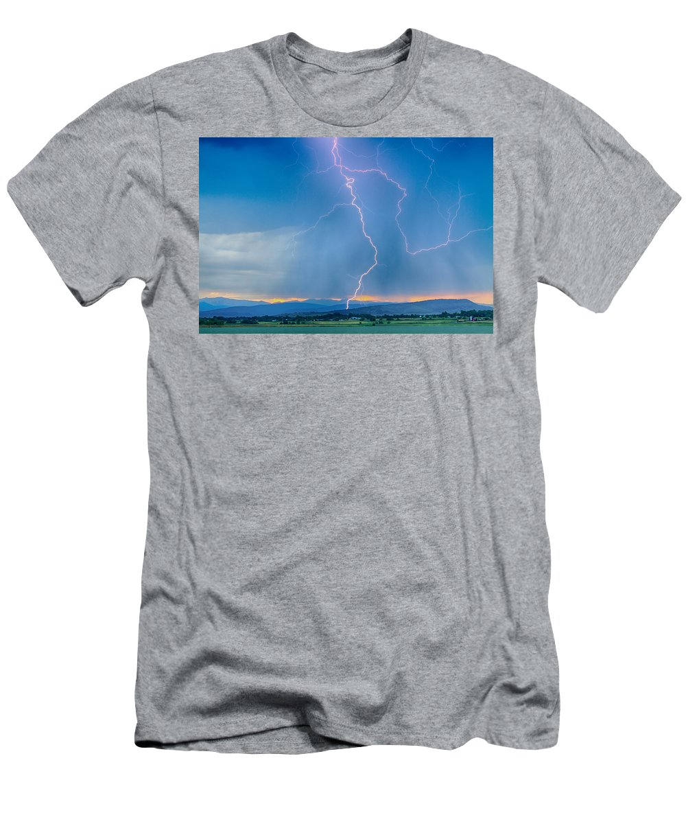 July Men's T-Shirt (Athletic Fit) featuring the photograph Rocky Mountain Foothills Lightning Strikes 2 Hdr by James BO Insogna