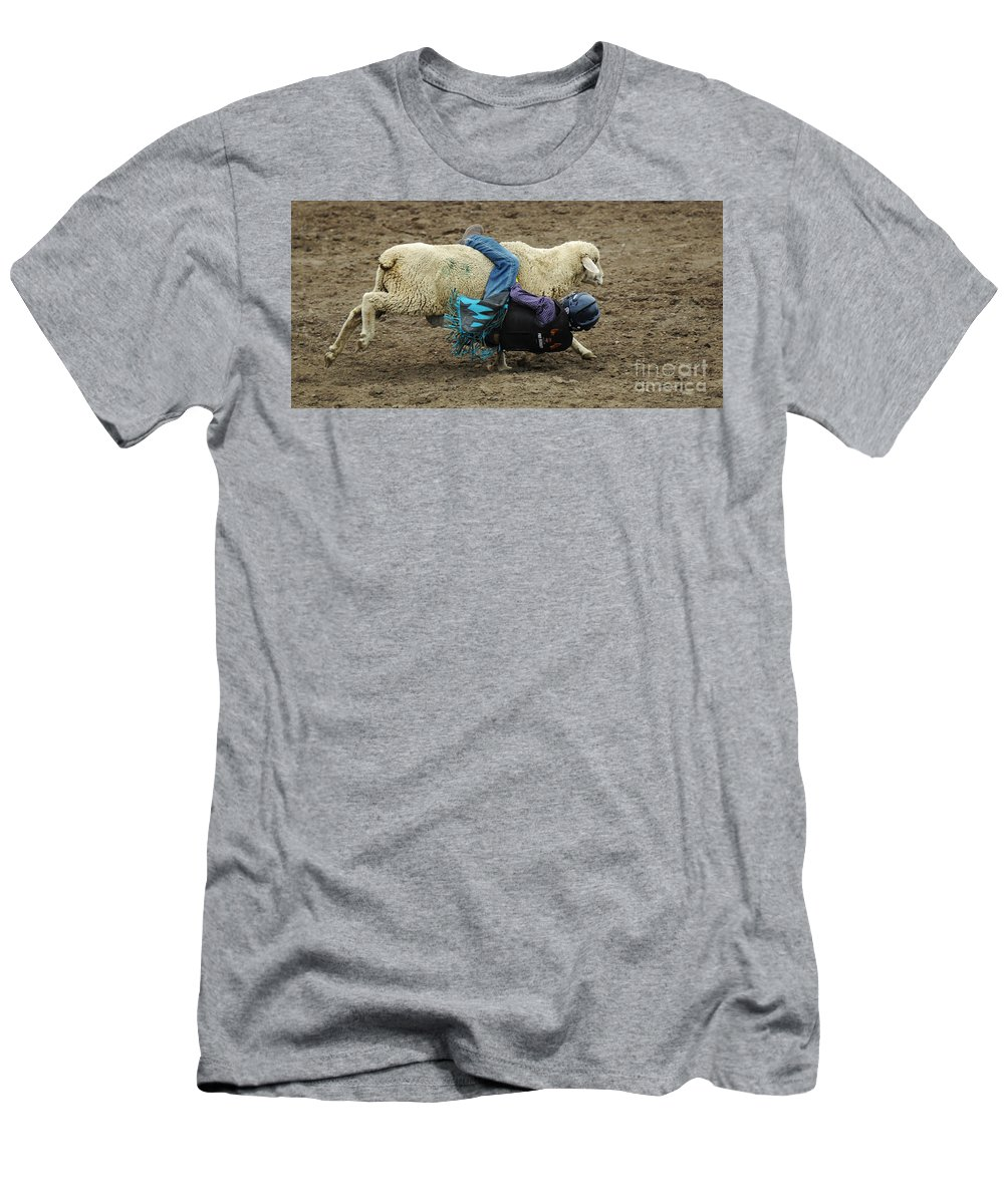 Velcro Men's T-Shirt (Athletic Fit) featuring the photograph Rodeo Velcro Rider 1 by Bob Christopher