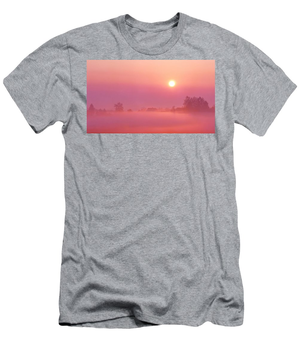Sunrise Men's T-Shirt (Athletic Fit) featuring the photograph Romantic by Heike Hultsch